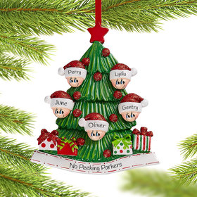 Personalized Tree Family of 5 Christmas Christmas Ornament