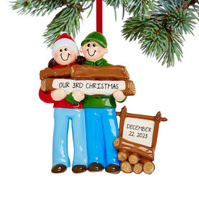 Personalized Log Couple Christmas Ornament