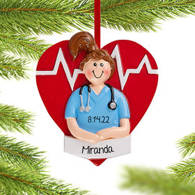 Personalized Nurse Girl Christmas Christmas Ornament