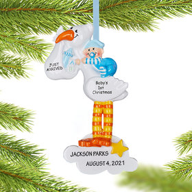 Personalized Stork Baby Blue Christmas Christmas Ornament