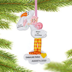 Personalized Stork Baby Pink Christmas Christmas Ornament