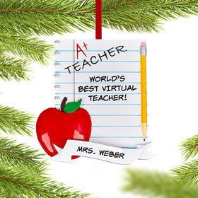 Personalized Teachers Notebook Christmas Ornament