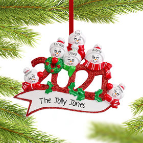 Personalized 2021 Snowman Family of 6 Christmas Ornament