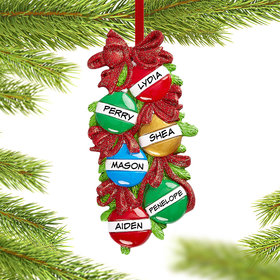 Personalized Christmas Ball Family of 6 Christmas Christmas Ornament