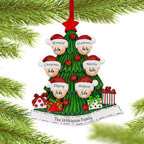 Personalized Tree Family of 6 Christmas Christmas Ornament