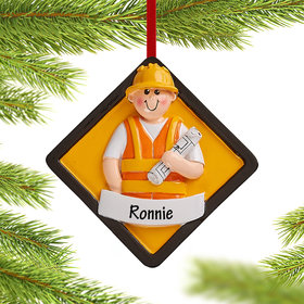 Personalized Construction Christmas Ornament