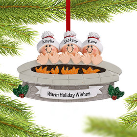 Personalized Firepit Family of 3 Christmas Ornament