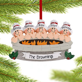 Personalized Firepit Family of 5 Christmas Christmas Ornament