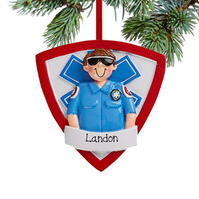 Personalized EMT Guy Christmas Ornament