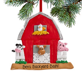 Personalized Barn Christmas Christmas Ornament