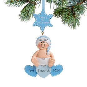 Personalized Baby On Hearts Blue Christmas Christmas Ornament