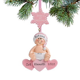 Personalized Baby On Hearts Pink Christmas Christmas Ornament