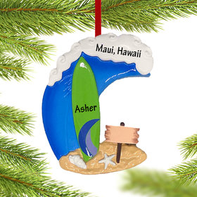 Personalized Surfboard Christmas Christmas Ornament