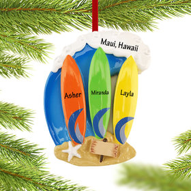 Personalized Surfboard Family of 3 Christmas Ornament