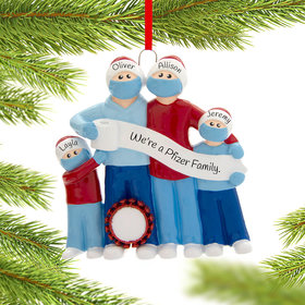 Personalized Vaccine Pandemic Survival Family of 4 Christmas Ornament