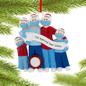 Personalized Vaccine Pandemic Survival Family of 5 Christmas Ornament