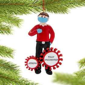 Personalized Vaccine Pandemic I Survived Corona Guy Christmas Ornament