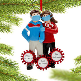 Personalized Vaccine Pandemic I Survived Corona Couple Christmas Ornament