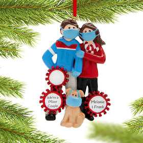Personalized Vaccine Pandemic I Survived Corona Couple with Dog Christmas Ornament