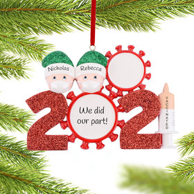Personalized Vaccine Pandemic Couple 2021 Christmas Ornament