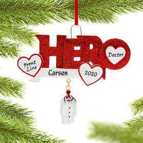 Personalized Vaccine Pandemic Hero Doctor Christmas Ornament