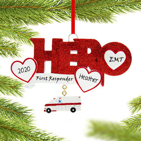 Personalized Quarantine Hero EMT Christmas Ornament