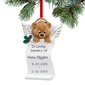Personalized Angel Bear Scroll Christmas Ornament