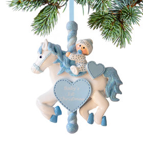 Personalized Baby Boy Carousel Christmas Ornament