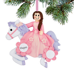 Personalized Princess Riding Her Unicon Christmas Ornament