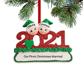 Personalized 2021 Couple Christmas Ornament