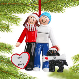 Personalized Couple with Dog Christmas Ornament
