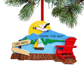 Personalized At the Lake Christmas Ornament