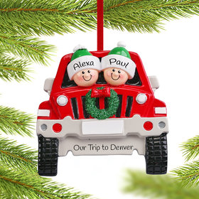 Personalized SUV Family of 2 Christmas Ornament