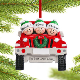Personalized SUV Family of 3 Christmas Ornament