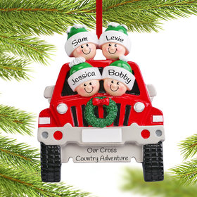 Personalized SUV Family of 4 Christmas Ornament