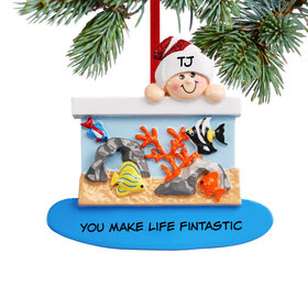 Personalized Loves Fish Christmas Ornament
