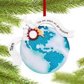 Personalized Vaccinate the World Christmas Ornament