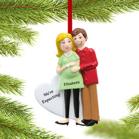 Personalized Pregnancy Couple Christmas Ornament