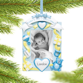 Personalized Baby Boy's First Photo Christmas Ornament