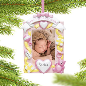 Personalized Baby Girl's First Photo Christmas Ornament