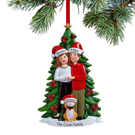 Personalized Couple with Cat Christmas Ornament