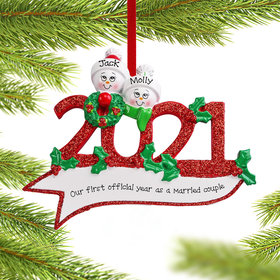Personalized 2021 Snowman Family of 2 Christmas Ornament