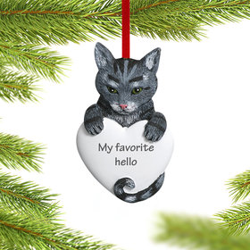 Personalized Gray Tabby Cat Christmas Ornament