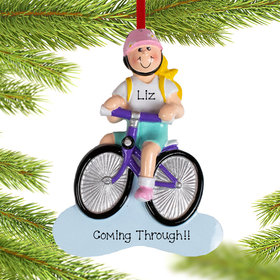 Personalized Blonde Bike Riding Girl Christmas Ornament