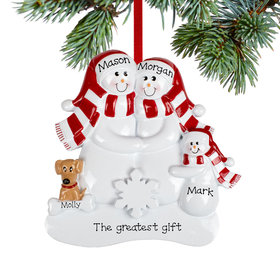 Personalized Snowman Family of 3 with 1 Brown Dog Christmas Ornament