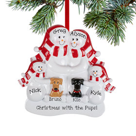 Personalized Snowman Family of 4 with Brown and Black Dogs Christmas Ornament