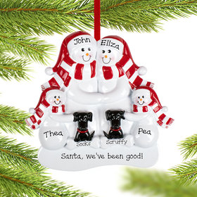 Personalized Snowman Family of 4 with 2 Black Dogs Christmas Ornament