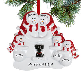 Personalized Snowman Family of 5 with 1 Black Dog Christmas Ornament