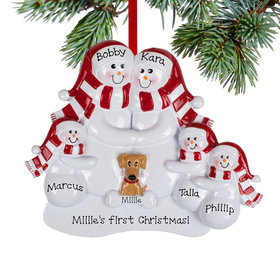 Personalized Snowman Family of 5 with 1 Brown Dog Christmas Ornament