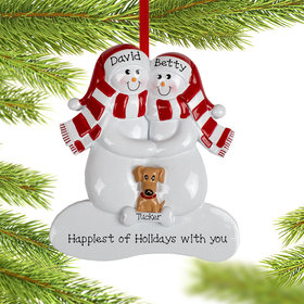 Personalized Snowman Couple with 1 Brown Dog Christmas Ornament